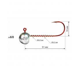 Джиг-головка 90° RED крючок №6/0